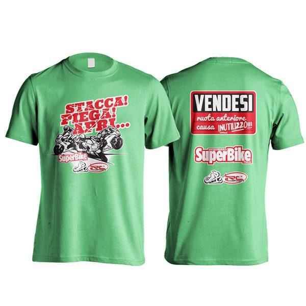 "T-Shirt ""Vendesi ruota anteriore"" verde"